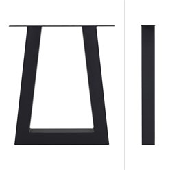 ML-Design 2er Set Tischbeine Trapez-Form, schwarz, 60x73 cm, aus Stahl