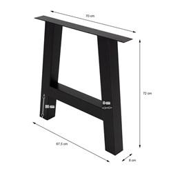 ML-Design 2er Set Tischbeine A-Form, schwarz, 70x72 cm, aus Stahl