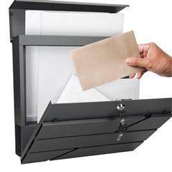 Briefkasten mit Zeitungsfach, anthrazit, 37x11x37 cm, aus Edelstahl