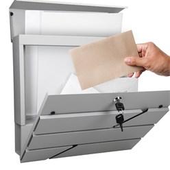 Briefkasten mit Zeitungsfach, hellgrau, 37x11x37 cm, aus Edelstahl