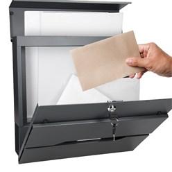 Briefkasten mit Zeitungsfach, anthrazit, 37x11x36.5 cm, aus Edelstahl