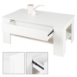 ML-Design Couchtisch weiß, mit Schublade und Ablageboden, 110x65x48 cm, aus Spanplatte