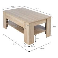 ML-Design Couchtisch, mit Schublade und Ablageboden, 110x65x48 cm, aus Spanplatte