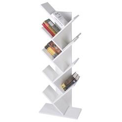 ML-Design Bücherregal weiß, mit 8 Ebenen in Bauform, 50x25x140 cm, aus Spanplatte und Melaminfurnier
