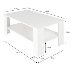 ML-Design Couchtisch weiß, 100x43x57 cm, aus Spanplatte mit Melaminbeschichtung