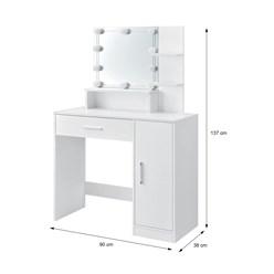 ML-Design Schminktisch mit LED-Beleuchtung, weiß, 90x38x137 cm, aus MDF Spanplatte