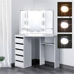 ML-Design Schminktisch mit LED-Beleuchtung, weiß, 110x141,5x54 cm, aus MDF Spanplatte