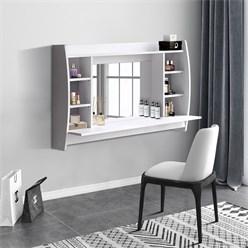 ML-Design Wandschminktisch mit Spiegel, weiß, 110x74x48,5 cm, aus MDF Spanplatte