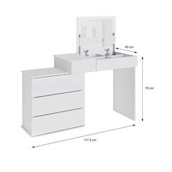 ML-Design Schminktisch mit Klappspiegel, weiß, 117,5x78x45 cm, aus MDF Spanplatte