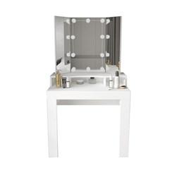 ML-Design Schminktisch mit LED-Beleuchtung, weiß, 89,5x155x43,5 cm, aus MDF Spanplatte