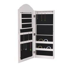 ML-Design Schmuckschrank mit Spiegel, weiß, 32x95x9 cm, aus MDF Spanplatte
