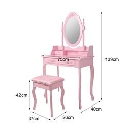 ML-Design Schminktisch mit Hocker, pink, 75x140x40 cm, aus MDF Spanplatte