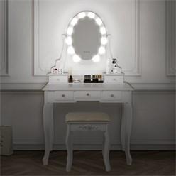 ML-Design Schminktisch mit LED Beleuchtung, weiß, 80x129x40 cm, aus MDF Spanplatte