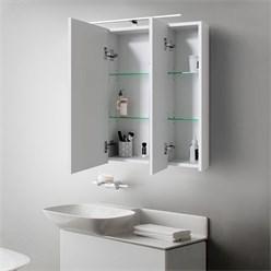 ML-Design Spiegelschrank, mit LED Beleuchtung, weiß, aus Spanplatte