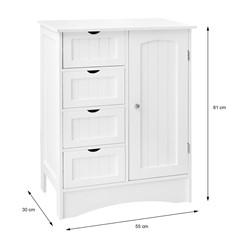ML-Design Badezimmerschrank weiß, 55x81x30 cm, aus MDF Spannplatte