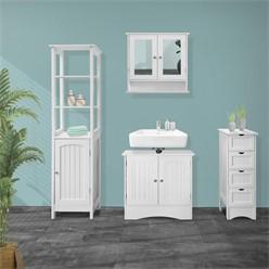 ML-Design Badezimmerschrank weiß, 30x81x30 cm, aus MDF Spanplatte