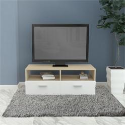 ML-Design TV-Lowboard weiß/natur, 95x36x35 cm, aus MDF Spanplatte