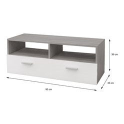 ML-Design TV-Lowboard weiß/grau, 95x36x35 cm, aus MDF Spanplatte