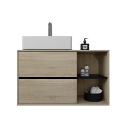 Waschbeckenunterschrank braun/schwarz 100x60x45,5 cm aus MDF Spanplatte ML-Design