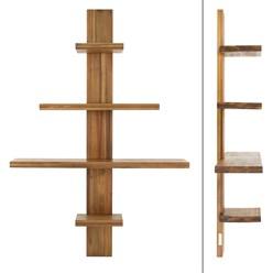 ML-Design Wandregal mit 4 Ebenen braun, 90x25x104 cm, aus massivem Akazienholz