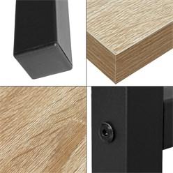 ML-Design Schreibtisch eiche-schwarz, 120x60x75 cm, aus MDF und Metall pulverbeschichtet