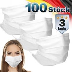 100 Stück Einwegmasken 3-lagiges Vliesmaterial Weiß Gesichtsmaske