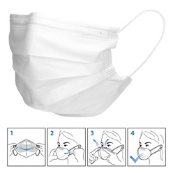 50 Stück Einwegmasken 3-lagiges Vliesmaterial Weiß Gesichtsmaske