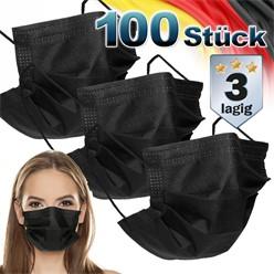 100 Stück Einwegmasken 3-lagiges Vliesmaterial Schwarz