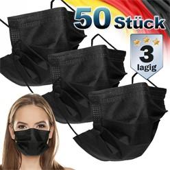 50 Stück Einwegmasken 3-lagiges Vliesmaterial Schwarz