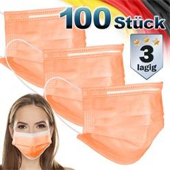 100 Stück Einwegmasken 3-lagiges Vliesmaterial Orange