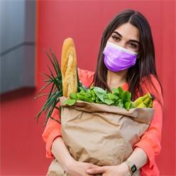 50 Stück Einwegmasken 3-lagiges Vliesmaterial Lila Gesichtsmaske