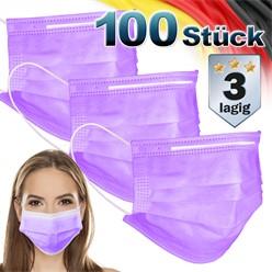 100 Stück Einwegmasken 3-lagiges Vliesmaterial Lila Gesichtsmaske
