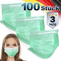 100 Stück Einwegmasken 3-lagiges Vliesmaterial Türkis Gesichtsmaske