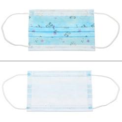 50 Stück Einwegmasken Kinder 3-lagig Vliesmaterial Blau mit Muster