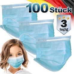 100 Stück Einwegmasken für Kinder 3-lagig Vliesmaterial Blau