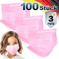 100 Stück Einwegmasken für Kinder 3-lagig Vliesmaterial Pink