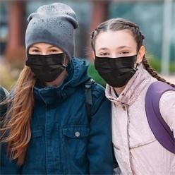 50 Stück Einwegmasken Kinder 3-lagig Vliesmaterial Schwarz