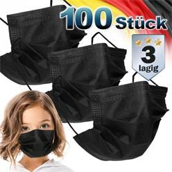 100 Stück Einwegmasken Kinder 3-lagig Vliesmaterial Schwarz