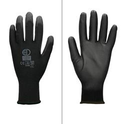 1 Paar Arbeitshandschuhe mit PU-Beschichtung, Schwarz, Größe XL