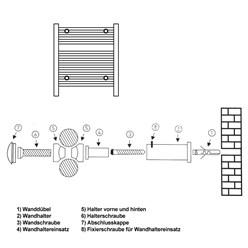Halterung für Badheizkörper Chrom für gerade und gebogene Modelle