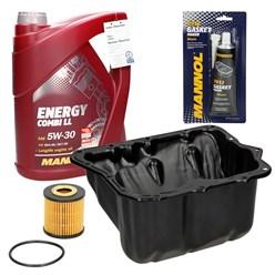 Ölwechselpaket Smart inkl. Ölwanne mit Dichtmasse und Ablassschraube Motoröl 5W-30 Combi LL 5 l