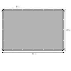 Abdeckplane mit Ösen, 2x3 m 180g/m², Grau, aus Polyethylen Gewebe mit beidseitiger Polyethylen-Beschichtung