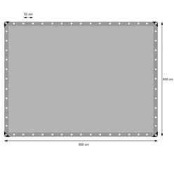 Abdeckplane mit Ösen, 6x8 m 180g/m², Grau, aus Polyethylen Gewebe mit beidseitiger Polyethylen-Beschichtung