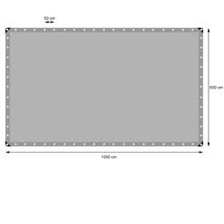 Abdeckplane mit Ösen, 6x10 m 180g/m², Grau, aus Polyethylen Gewebe mit beidseitiger Polyethylen-Beschichtung