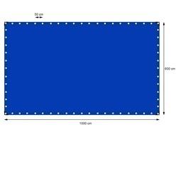 Abdeckplane mit Ösen, 6x10 m 180g/m², Blau, aus Polyethylen Gewebe mit beidseitiger Polyethylen-Beschichtung