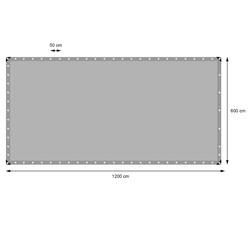Abdeckplane mit Ösen, 6x12 m 180g/m², Grau, aus Polyethylen Gewebe mit beidseitiger Polyethylen-Beschichtung