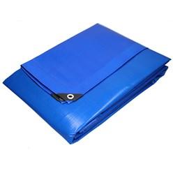 Abdeckplane mit Ösen, 8x10 m 260g/m², Blau, aus Polyethylen Gewebe mit beidseitiger Polyethylen-Beschichtung
