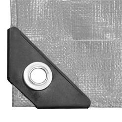Abdeckplane mit Ösen, 1.5x12 m 180g/m², Grau, aus Polyethylen Gewebe mit beidseitiger Polyethylen-Beschichtung