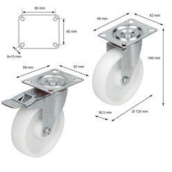 125 mm 2 x Lenkrolle mit 2 x Lenk-Brems Rolle weiß Kunstst.