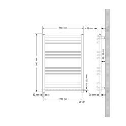 Badheizkörper Sahara 750x800 mm weiß mit Seitenanschluss